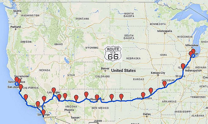 route 66 karte Route 66 Reiseroute | Reise entlang der Route 66   The Mother Road route 66 karte